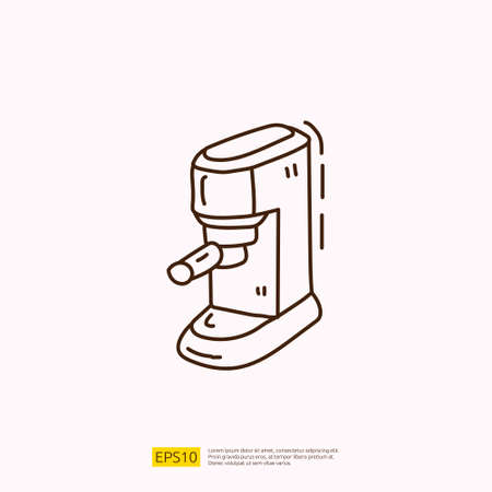 coffee maker machine for cafe concept vector illustration. hand drawing doodle linear icon sign symbol