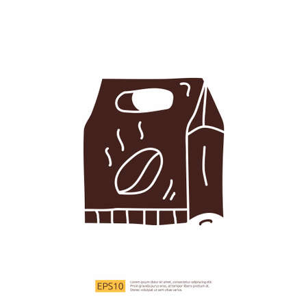 coffee pack box for cafe concept vector illustration. hand drawing doodle silhouette glyph solid icon sign symbol