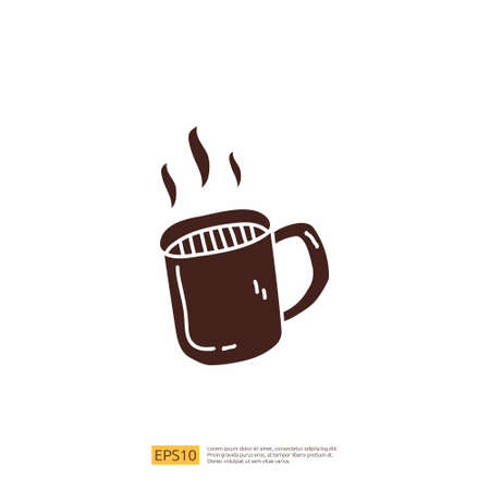 hot coffee cup for cafe concept vector illustration. hand drawing doodle silhouette glyph solid icon sign symbol