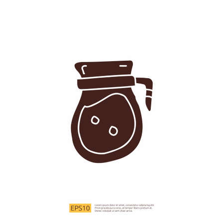 coffee or tea kettle jug for cafe concept vector illustration. hand drawing doodle silhouette glyph solid icon sign symbol 向量圖像