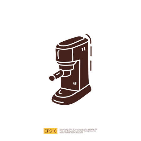 coffee maker machine for cafe concept vector illustration. hand drawing doodle silhouette glyph solid icon sign symbol 向量圖像