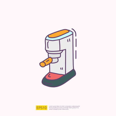 coffee maker machine for cafe concept vector illustration. hand drawing doodle fill color icon sign symbol 向量圖像