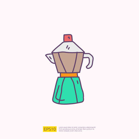 coffee or tea kettle jug or maker for cafe concept vector illustration. hand drawing doodle fill color icon sign symbol