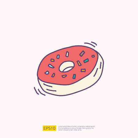 doughnut or donut cake for cafe concept vector illustration. hand drawing doodle fill color icon sign symbol