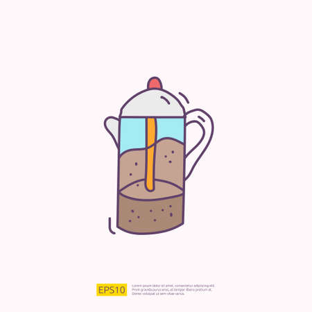 coffee or tea kettle jug for cafe concept vector illustration. hand drawing doodle fill color icon sign symbol