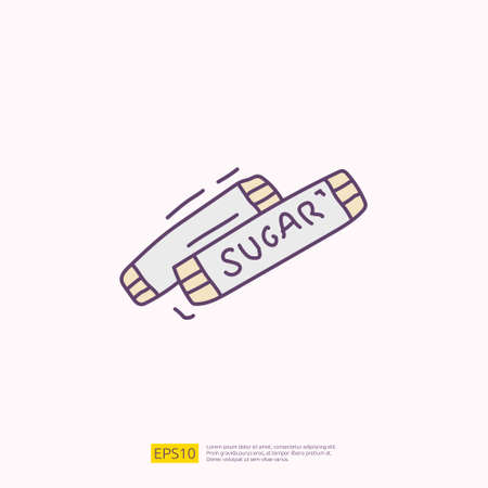 sugar sachet for cafe concept vector illustration. hand drawing doodle fill color icon sign symbol