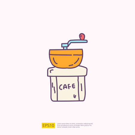 coffee grinder for cafe concept vector illustration. hand drawing doodle fill color icon sign symbol