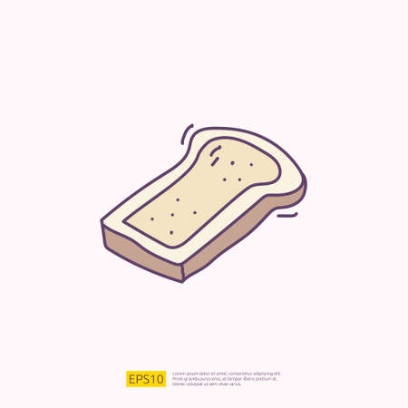 bread slice for cafe concept vector illustration. hand drawing doodle fill color icon sign symbol 向量圖像