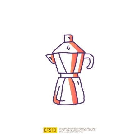 coffee or tea kettle jug or maker for cafe concept vector illustration. hand drawing doodle gradient fill line icon sign symbol