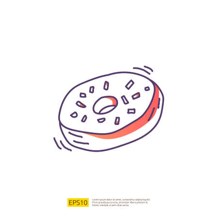 doughnut or donut cake for cafe concept vector illustration. hand drawing doodle gradient fill line icon sign symbol 向量圖像