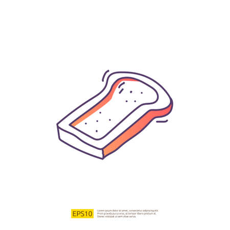 bread slice for cafe concept vector illustration. hand drawing doodle gradient fill line icon sign symbol