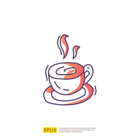hot coffee cup for cafe concept vector illustration. hand drawing doodle gradient fill line icon sign symbol