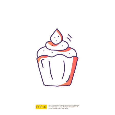 cupcake for cafe concept vector illustration. hand drawing doodle gradient fill line icon sign symbol 向量圖像