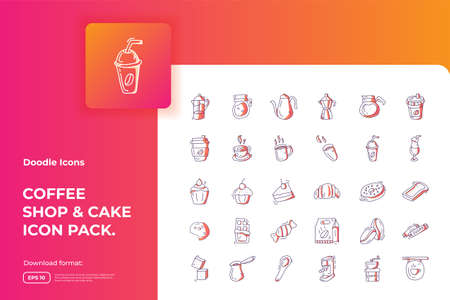 Coffee shop and cake concept doodle icon set. gradient color line style food Icons sign symbol vector illustration 向量圖像