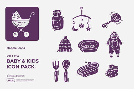Set of hand drawn doodle cute baby and kids care silhouette glyph solid icons for newborn with toys, food, accessories sign symbol vector illustration