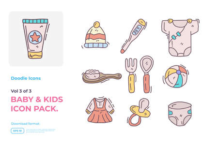 Set of hand drawn doodle cute baby and kids care fill color icons for newborn with toys, food, accessories sign symbol vector illustration