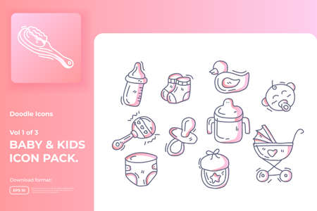 Set of hand drawn doodle cute baby and kids care gradient color line icons for newborn with toys, food, accessories sign symbol vector illustration
