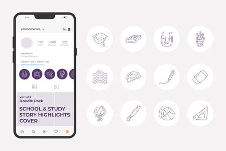 School and study doodle icon illustration set for social media Highlight Stores Cover with thin outline style vector illustration 向量圖像