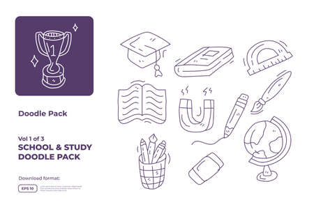 School and study doodle icon illustration set with thin outline style vector illustration