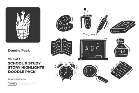 School and study doodle icon set with silhouette glyph solid style. hand drawn vector illustration