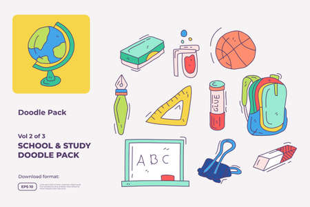 School and study doodle icon set with fill color style. hand drawn vector illustration 向量圖像
