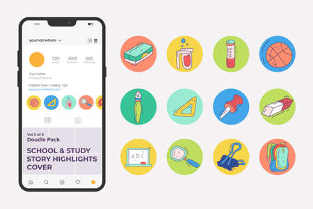 School and study doodle icon set for social media Highlight Stores Cover with fill color style. hand drawn vector illustration 向量圖像