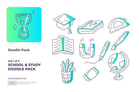 School and study doodle icon illustration set with gradient color line style vector illustration