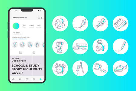 School and study doodle icon set for social media Highlight Stores Cover with gradient color line style. hand drawn vector illustration 向量圖像