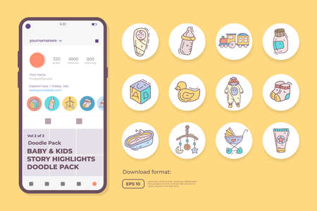 baby and kids care doodle icons for newborn with toys, food, accessories. sign symbol set for social media Highlight Stores Cover vector illustration 向量圖像