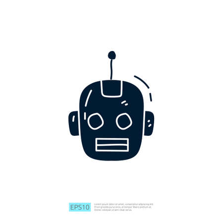 Artificial intelligence AI concept with android robot head face for engineering, development, brainstorming sign. Hand drawn doodle icons vector illustration