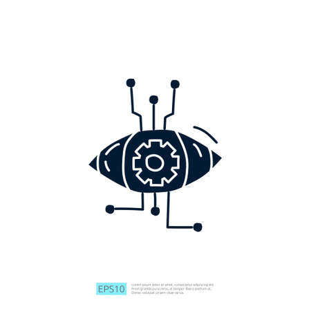 Artificial intelligence AI concept with algorithm and data filter or analysis for engineering, development, brainstorming sign. Hand drawn doodle icons vector illustration