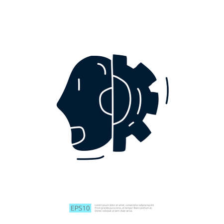 Artificial intelligence AI concept with android robot head face and gear machine for engineering, development, brainstorming sign. Hand drawn doodle icons vector illustration