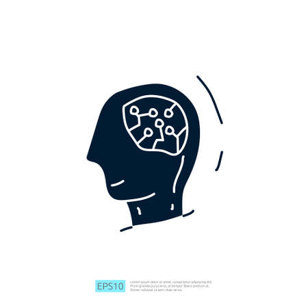 Artificial intelligence AI concept with circuit board data and artificial brains chip for engineering, development, brainstorming sign. Hand drawn doodle icons vector illustration