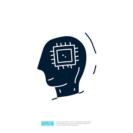 Artificial intelligence AI concept with circuit board data and artificial brains chip for inspiration, development, brainstorming sign. Hand drawn doodle icons vector illustration