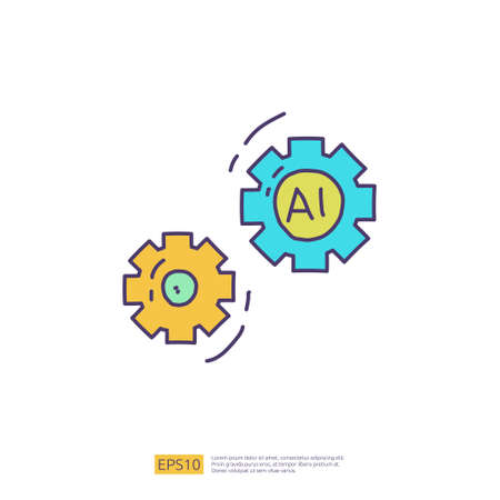 Artificial intelligence AI concept with gear machine for engineering, development, brainstorming sign. Hand drawn doodle icons vector illustration