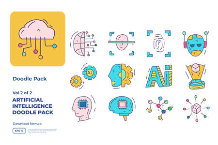 Artificial intelligence AI concept with circuit board data and brains chip for engineering, development, brainstorming. Hand drawn doodle icons set vector fill color style vector illustration