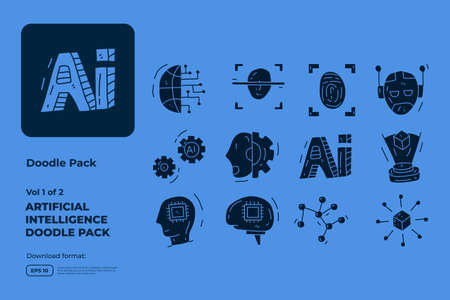 Artificial intelligence AI concept with circuit board data and brains chip for engineering, development, brainstorming. Hand drawn doodle icons set vector bold solid style vector illustration