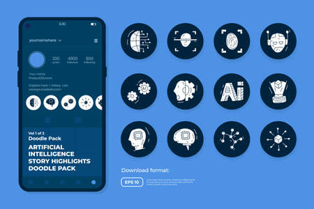 Artificial intelligence AI concept with circuit board data and brains chip for engineering, development, brainstorming. Hand drawn doodle icons set vector for social media Highlight Stores Cover