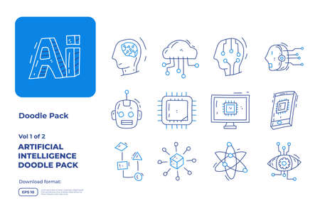 Artificial intelligence AI concept with circuit board data and brains chip for engineering, development, brainstorming. Hand drawn doodle icons set vector outline style vector illustration Ilustração