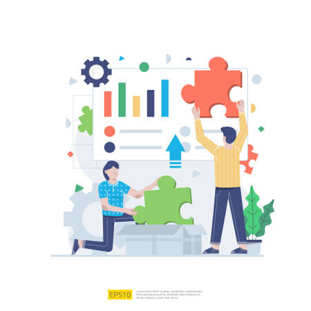Startup employees teamwork. men and women scenes at office working and make some planning. Business concept illustration of brainstorming, meeting, negotiation, talking to each other Ilustracje wektorowe