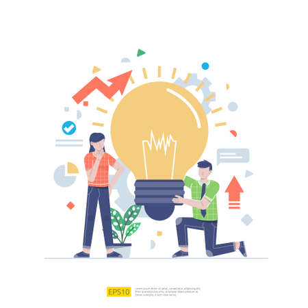 Startup employees teamwork. Business concept illustration of brainstorming, development, innovative, research discussion to each other. men and women scenes at office working with light bulb lamp