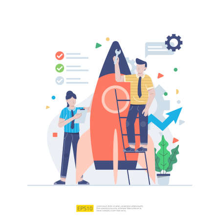 Startup employees teamwork. men and women scenes with spaceship for launching new business. illustration concept of development, brainstorming, innovation, marketing strategy and grow the idea