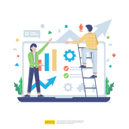 Startup employees teamwork. men and women scenes at office working and make some planning. Business concept illustration of brainstorming, meeting, negotiation, talking to each other