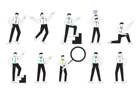 no face young man worker character presentation pose set with hand gesture. male business people standing. businessman with outline style isolated vector illustration.