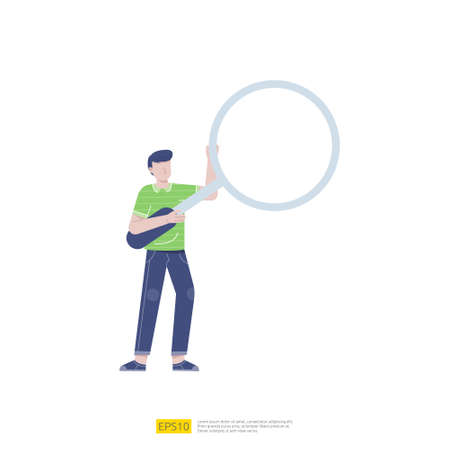 businessman or young man worker character pose with magnifying glass on hand gesture in flat style isolated vector illustration Ilustração