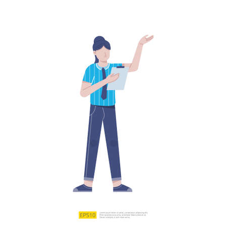 businesswoman or young woman worker character presentation pose with hand gesture and checklist document in flat style isolated vector illustration Ilustração