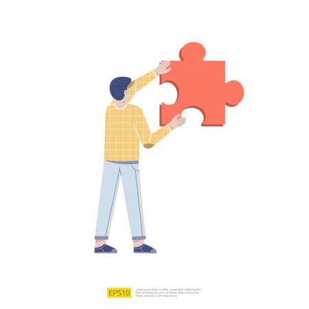 Man Holding Puzzle Element. problem solving or mission completion completed task concept. teamwork and business partnership vector illustration