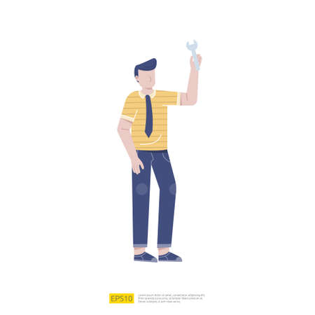 Man character holding wrench. Technical support or service concept , mechanical repair, maintenance work, professional support, help or assistance flat vector illustration