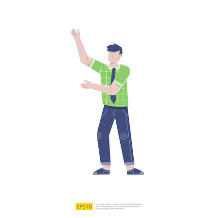 businessman or young man worker character presentation pose with hand gesture in flat style isolated vector illustration Ilustração