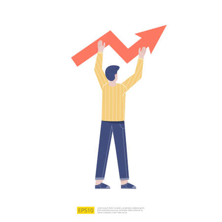 Business man holding and lifted arrow representing the growth in business. success and idea creation concept vector illustration